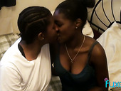 Two Black Lesbians Enjoy Eating Each Others Ebony Pussies In 69 Style Pose