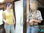 Two Libidinous Lesbian Nextdoor Chicks Test One Double Ended Dildo