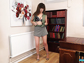 English Chick Kate Anne Shows Striptease In The Office