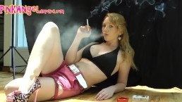 Sexy Pink Angel Smoking Two At Once