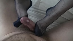 Blue Nylon Footjob From My Wife