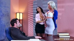 Described Video – Sexy Threesome In The Office – Brazzers