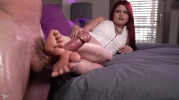 Redhair Dirty Talk Handjob And Footjob