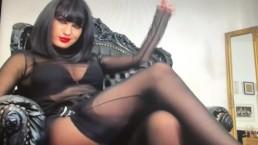 Amazing Smoking Goddess In Shiny Pantyhose And Seemed Stocking Layers, Omg