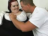 Red Haired BBW Slut Sucks Big Dick Of Handsome Caucasian Dude