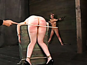 Depraved Bondage Master Hits His Slave's Ass With A Wooden Stick