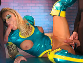 Freaky Blonde Sexpot In Latex Suit Gets Drilled By Two Big Dicks