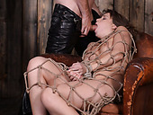 Bondageable Dark Haired Chick Gets Mouth Fucked Properly By Dude