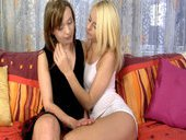 Blonde Girl Denisa Peterson And Her Brunette Girlfriend Make Out And Share Cock