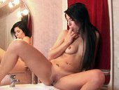 Hot Brunette Masturbates And Gives Blowjob