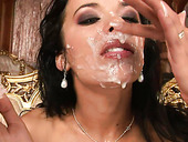 Alluring Brunette Hottie Gives Upside Down Blowjob Before Getting Her Face Ejaculated