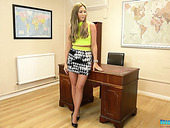 British Secretary Natalia Forrest Is Striping In The Boss's Office