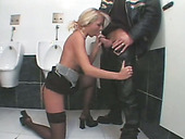 Romantic French Blonde Is Cheating Her Boyfriend In The Public Toilet