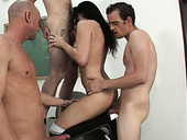 Sassy College Student Is Serving Three Aroused Coeds In Hardcore Gangbang