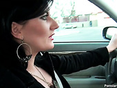Sex Starved Brunette Gives Her Lover A Handjob While Driving