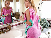 Magnificent Babe Abella Danger Is Making Love With Lesbian Girlfriend In The Bath Room