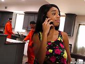 Slutty Ebony Housewife Brittney White Seduces Two Sweaty Workers