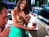 Luxurious Brunette August Ames Sucks Johnny Castle's Cock At The Bar