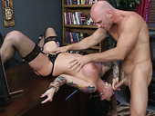 Brutal Stud Johnny Sins Fucks Throat Of Darling Danika In Upside Down Position