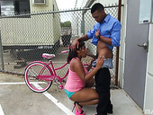 Big Bottomed Busty Chick Diamond Black Gives A Blowjob And Gets Fucked Outdoor