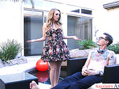 Cute Blonde In Nice Dress Harley Jade Seduces Dude With A Huge Dick