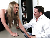 Spoiled Office Bitch Harley Jade Gives A Blowjob To Her Boss And Gets Her Slit Rammed