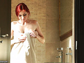 Hot Like Fire Ginger Babe Kattie Gold Is Masturbating In The Shower