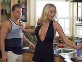 Seductive Housewife In Sexy Dress Katie Morgan Sits On Dude's Face