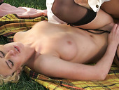 Lovely Blonde Lady Victoria White And Her Partner Fuck On The Picnic