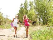 Two Yummy And Sensual Girlfriends Are Making Love In The Forest