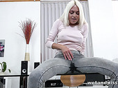 Nasty Blondie Is Pissing In Her Wet Panties And Masturbating Muff On The Glass Table