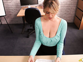 Slutty Secretary Brook Little Takes Out Her Big Saggy Tits And Touches Herself
