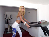 Flat Chested Blonde Gabriella Flores Runs On A Treadmill