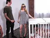 Whore Wife Marsha May Is Fucked Right On The Cage In Which Sits Her Husband