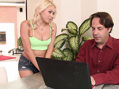 Blond Housewife Marsha May Seduces Her Own Husband And Rides His Dick Like Crazy Whore
