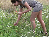 Cute 18 Yo Babe Lexi Rain Is Playing With Pussy In A Meadow