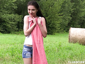 Cute Teen Mia Evans Is Toying Her Charming Pussy Outdoor