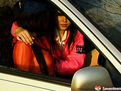 Two Girlfriends Are Fingering Each Others Slit In The Car