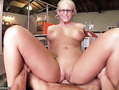 Bootylicious Four Eyed Blonde Phoenix Marie Rides Dick Like A Pro