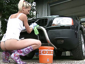 Slutty Car Washing Babe Pinky June Fucks Herself Outdoor
