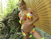 Beautiful Blonde Pinky June Is Playing With Her Charming Punani In The Garden