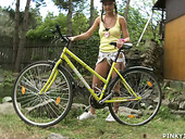 Young Blonde Is Riding Her Bicycle And Masturbating Pussy Outdoor