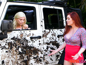 Angry Red Haired Milf Veronica Vain Makes Piper Perri Wash Her Car