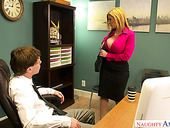Mouth Watering Milf In Stockings Sara Jay Hooks Up With Her Young Boss