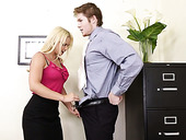 Secretary With Hungry Hole Sarah Vandella Shakes Her Ass Sitting On Boss's Dick
