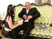 Perverted Babe In Sexy Maid Uniform Valentina Nappi Polishes Boss's Dick