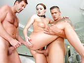 Trio Of Dudes Fuck All Holes Of Nasty Slut Tina Kay