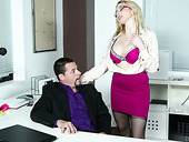 Super Sexy Secretary Christie Stevens Is Fucked By Her Boss Right On The Table