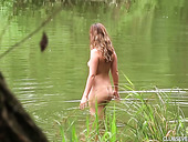 Beautiful Nude Babe Lexi Rain Is Swimming And Masturbating Pussy By The Lake