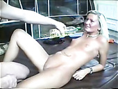 Horn-mad Blondie With Small Tits Gets Both Her Holes Polished On The Floor